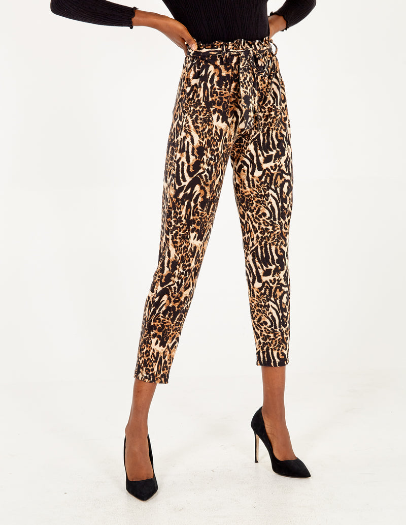 MORLEY - Abstract Animal Print Paperbag Waist Trousers