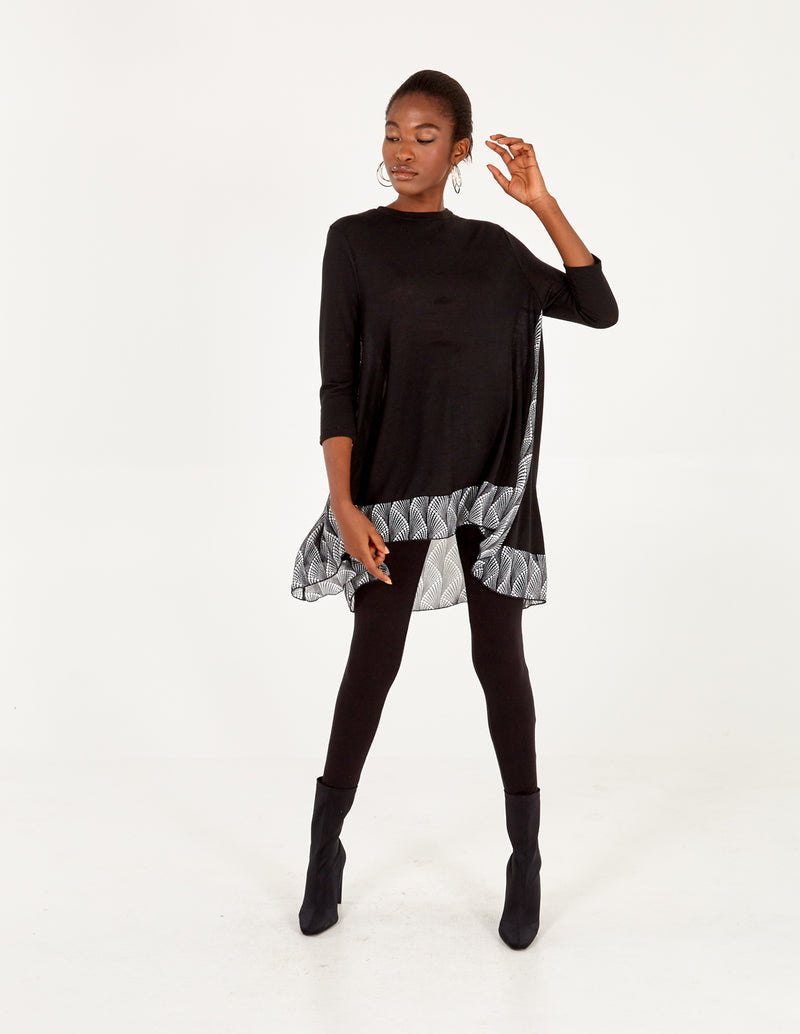 GERRY - Long Sleeve Split  Back Chiffon Insert Black Top