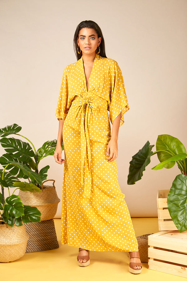 ARIA - Kimono Sleeve Tie Maxi Yellow Dress