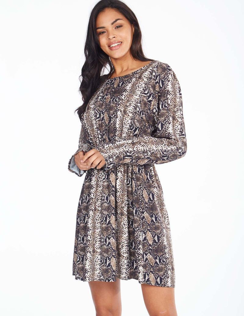 SUEANNE - Tie Back Elastic Waist Snake Print Dress