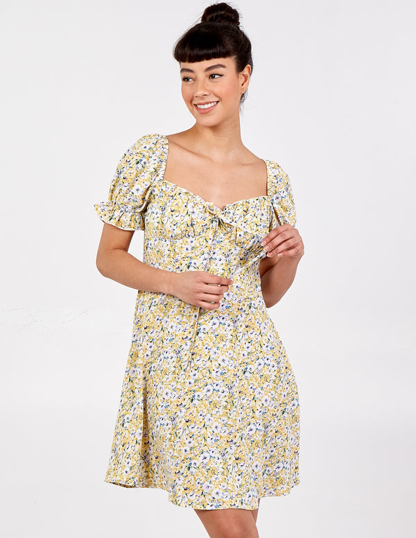 EZMAE - Corset Front Puff Sleeve Dress