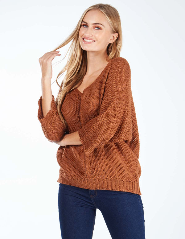 PALLY - V Neck Cable Knit Rust Jumper