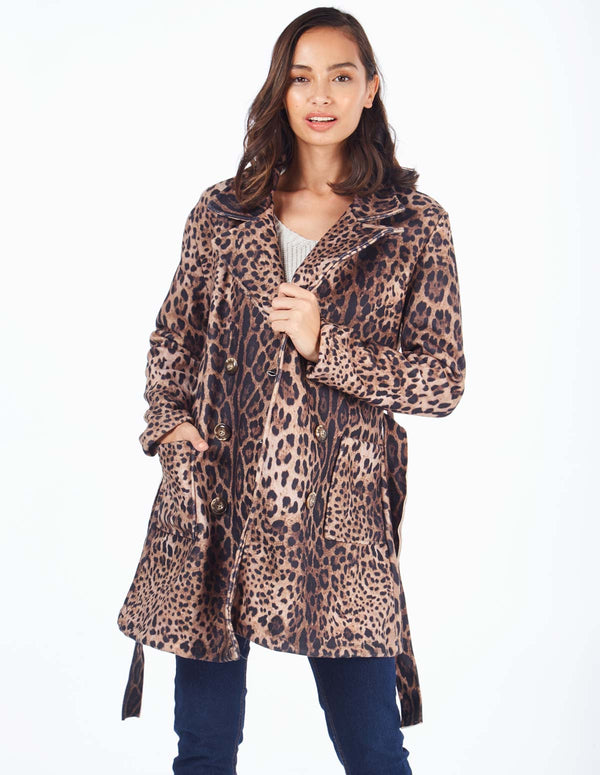 PATZI - Double Breast Pocket Detail Animal Print Coat