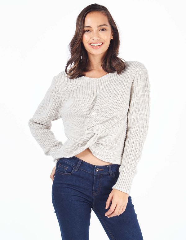 VERONICA - Knot Front Knitted Grey Jumper