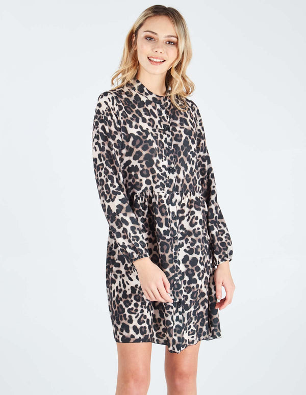 NICOLE - Front Buttoned Long Sleeve Leopard Print Dress