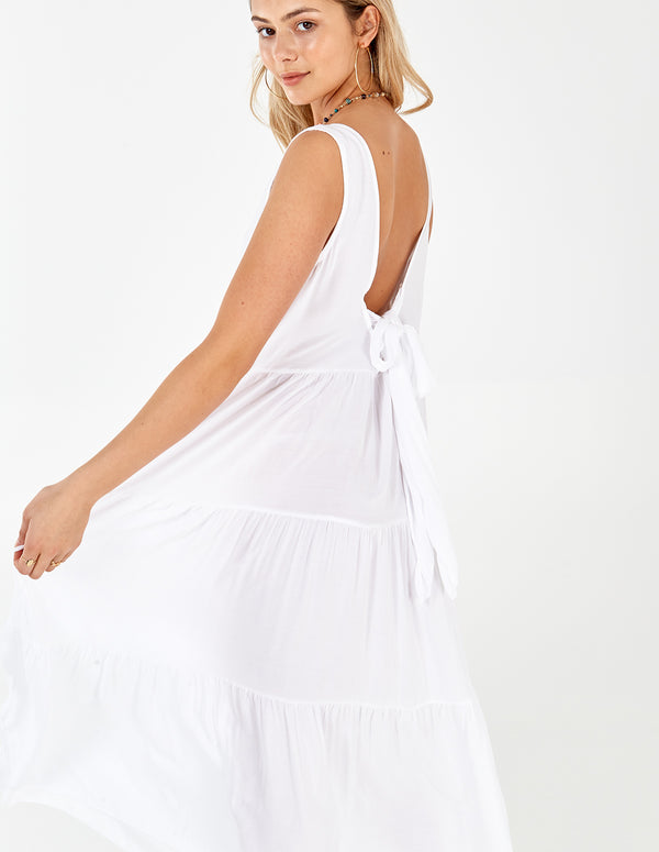 MONA - White Layered Tie Back Maxi Dress