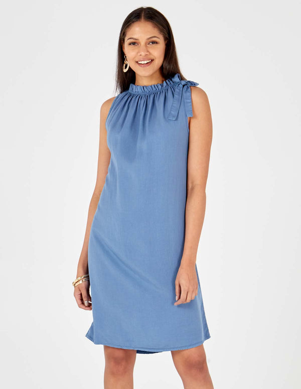 NORAH - Bow Halterneck Blue Dress