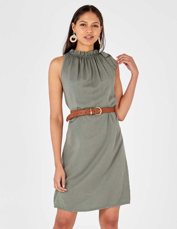 NORAH - Bow Halterneck Khaki Dress