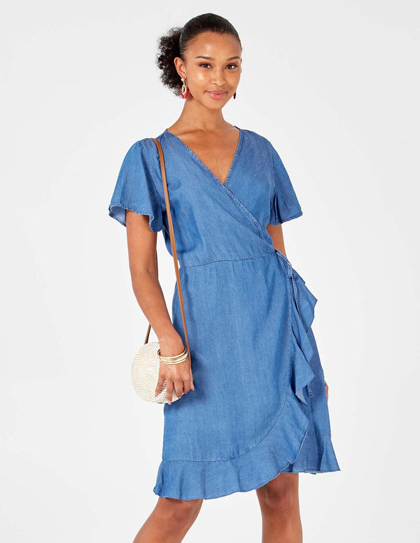 MARIAH - Wrapover Denim Blue Dress