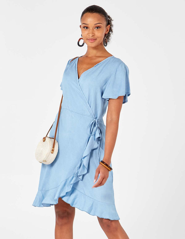MARIAH - Wrapover Denim Light Blue Dress