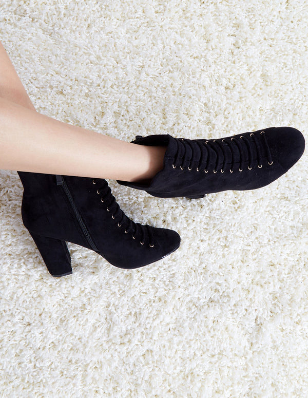 ROHAN - Black Lace Up Ankle Heeled Boots