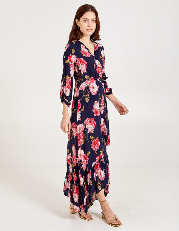IMOGEN - Floral Print Wrap Over Dress