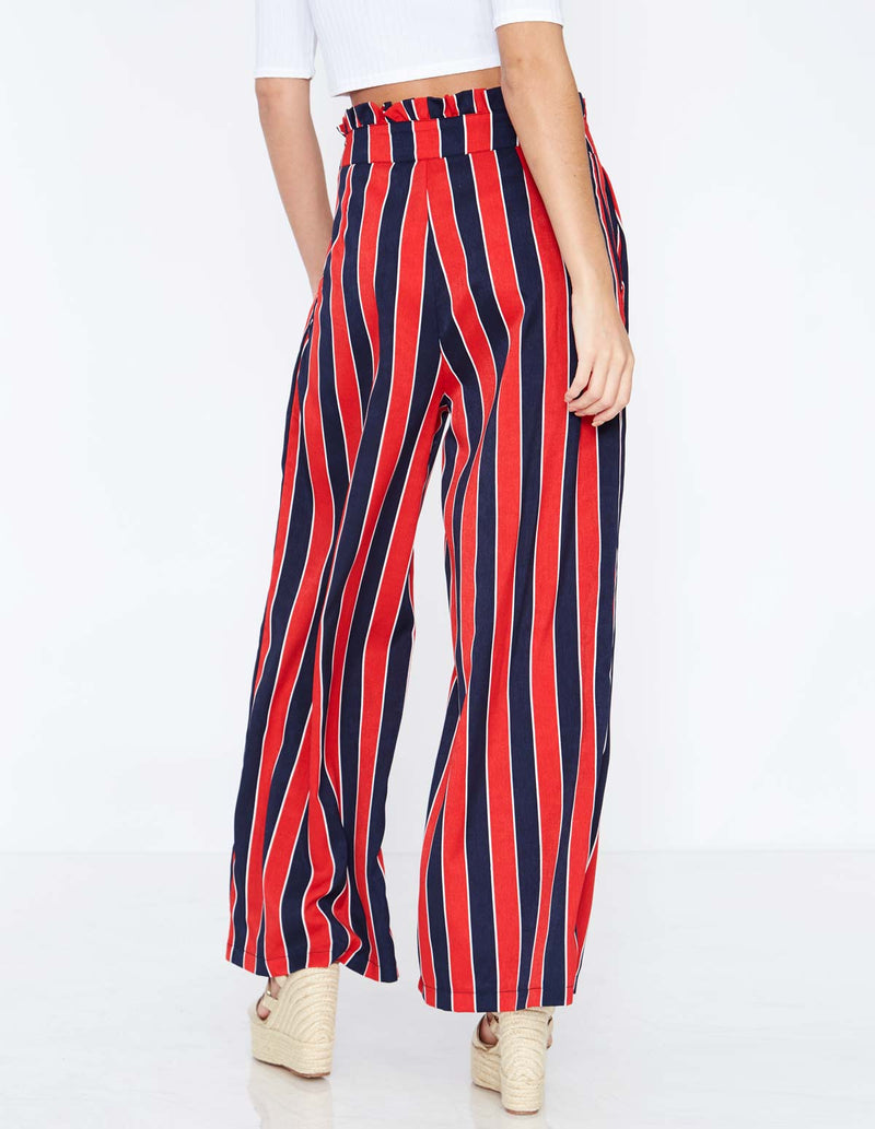 FARICA - Striped Paperbag Red Trousers
