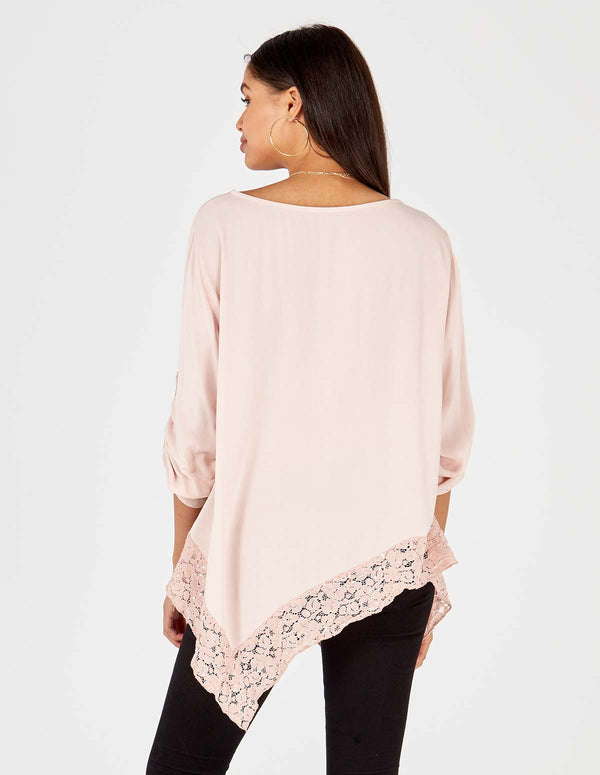 ALAYNA - Asymmetric Lace Detail Hem Oversized Blush Top