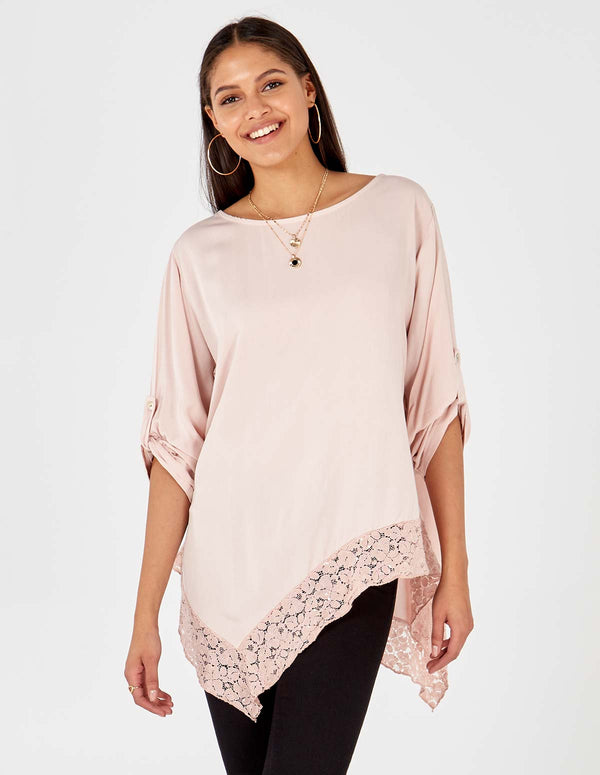 79d37f395d6d3 ... ALAYNA - Asymmetric Lace Detail Hem Oversized Blush Top