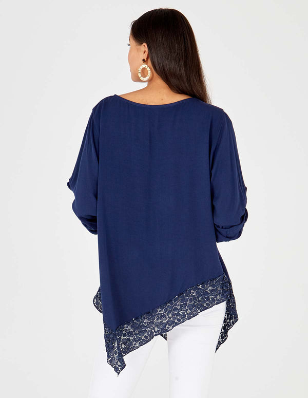 ALAYNA - Asymmetric Lace Detail Hem Oversized Navy Top