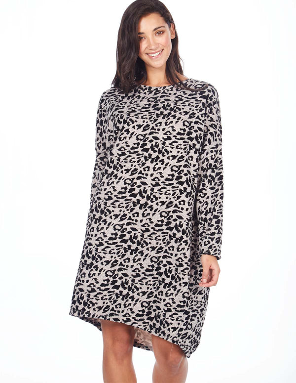 TAL - Suede Detailing Leopard Tunic Dress