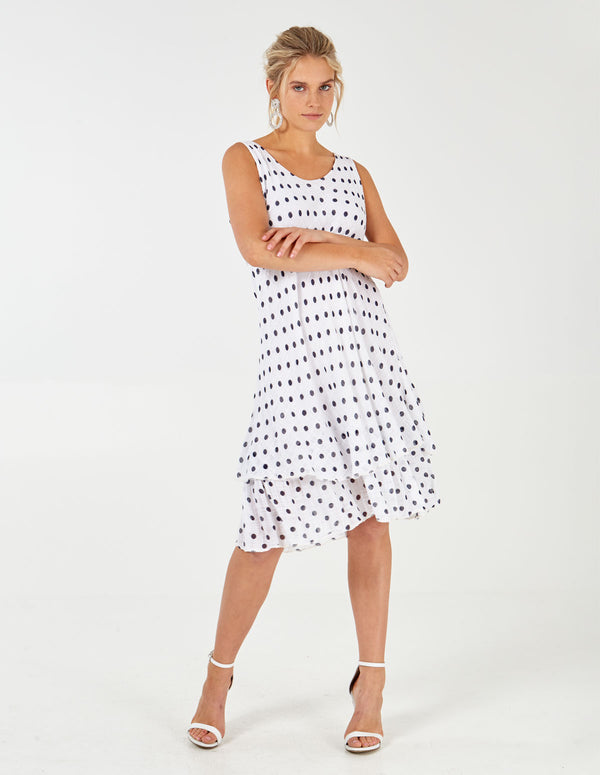 KIRAN - White Polka Dot Layered Dress