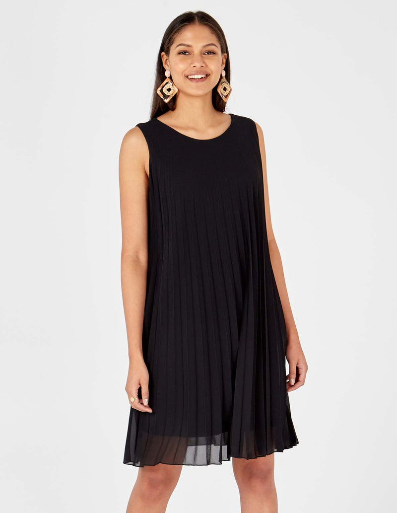 MELODY - Sleeveless Pleated Black Dress