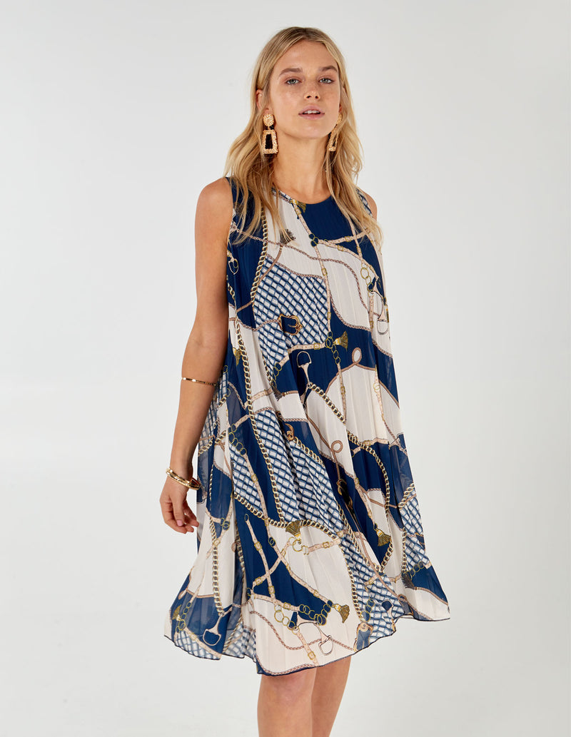 MELODY - Sleeveless Pleated Chain Print Navy Dress