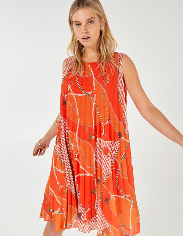 MELODY - Sleeveless Pleated Chain Print Orange Dress