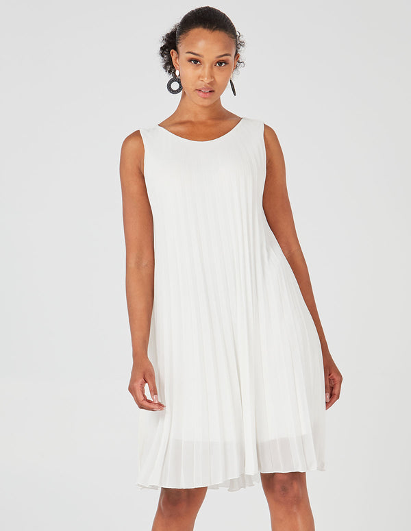 MELODY - Sleeveless Pleated White Dress