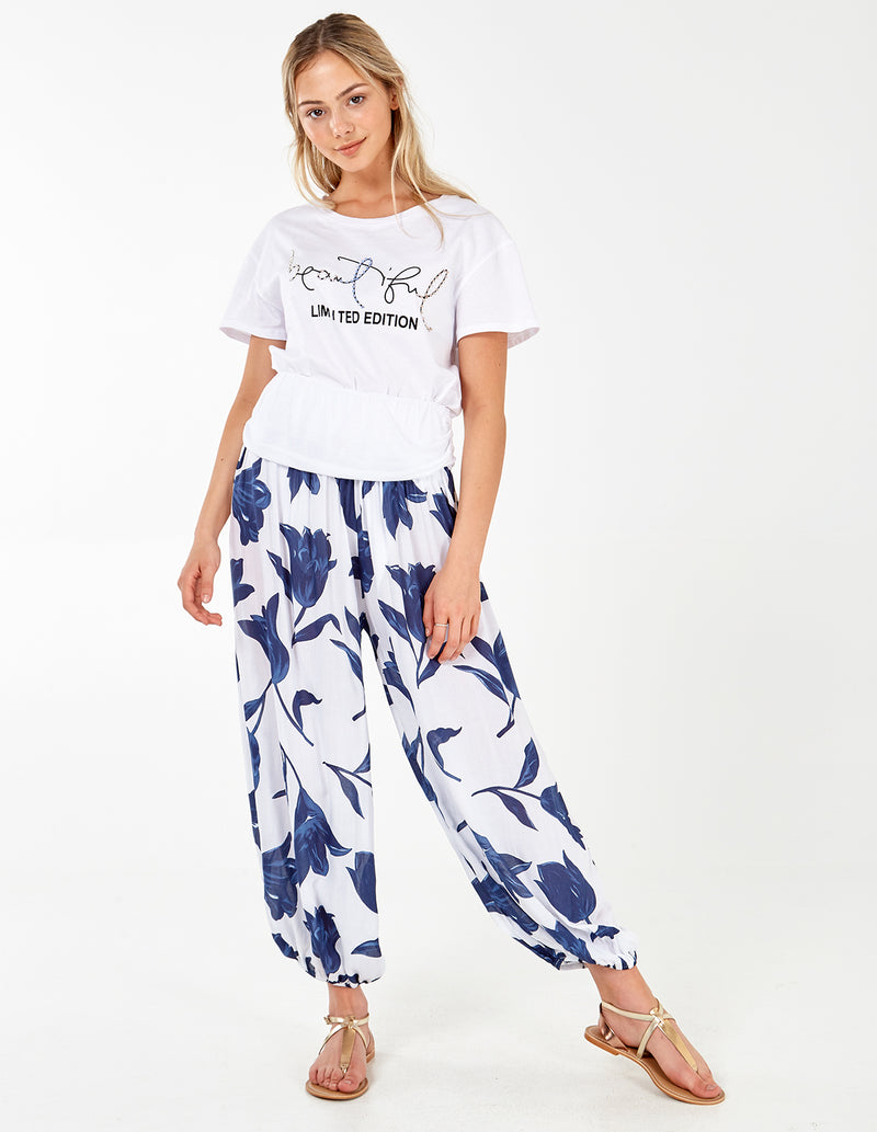 KETTY - Floral White Joggers
