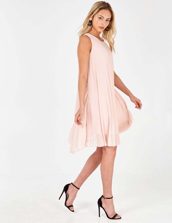 MELODY - Sleeveless Pleated Pink Dress