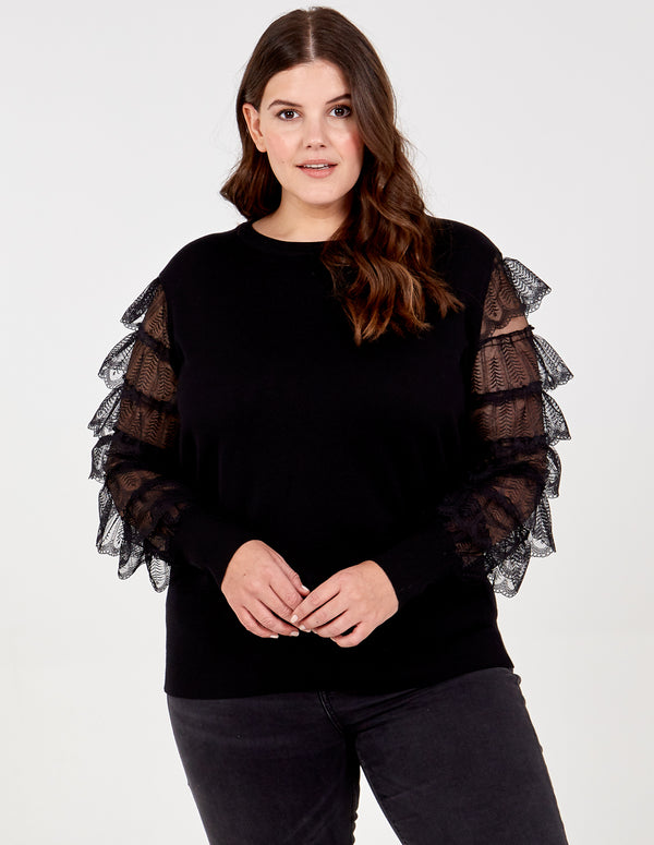 KATHLEEN - Layered Lace Frill Sleeve Top