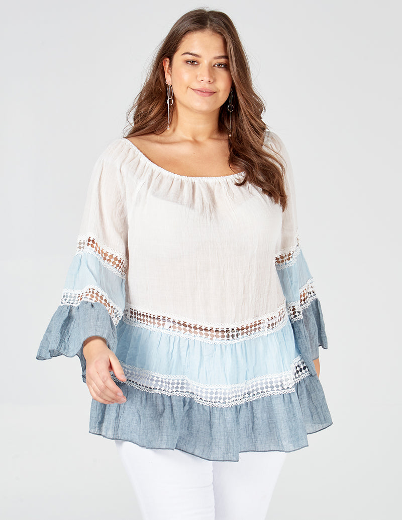 LOTTIE - Curve Tiered Crochet Trim Bardot Top