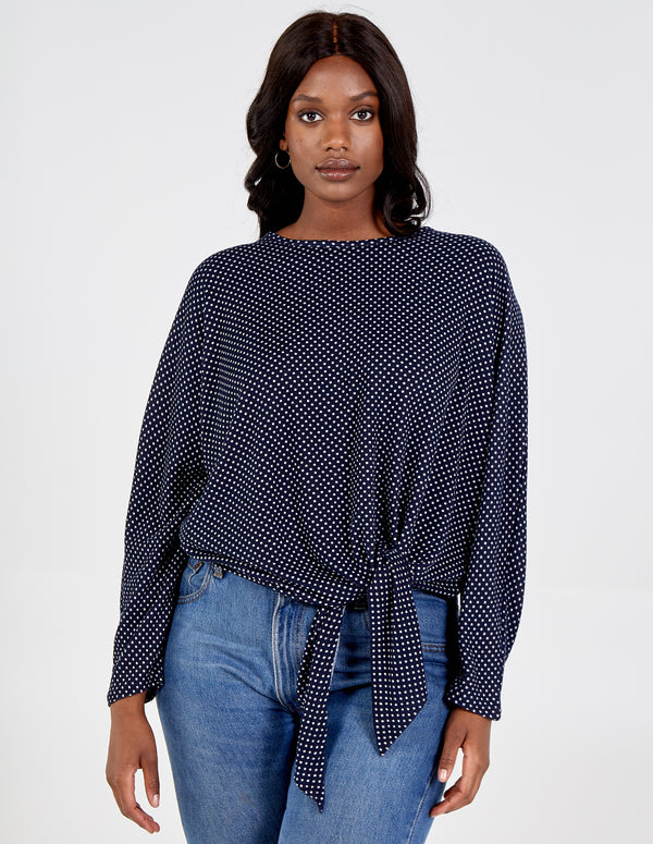 SHELBY - Curve Knot Front Polka Dot Batwing Top