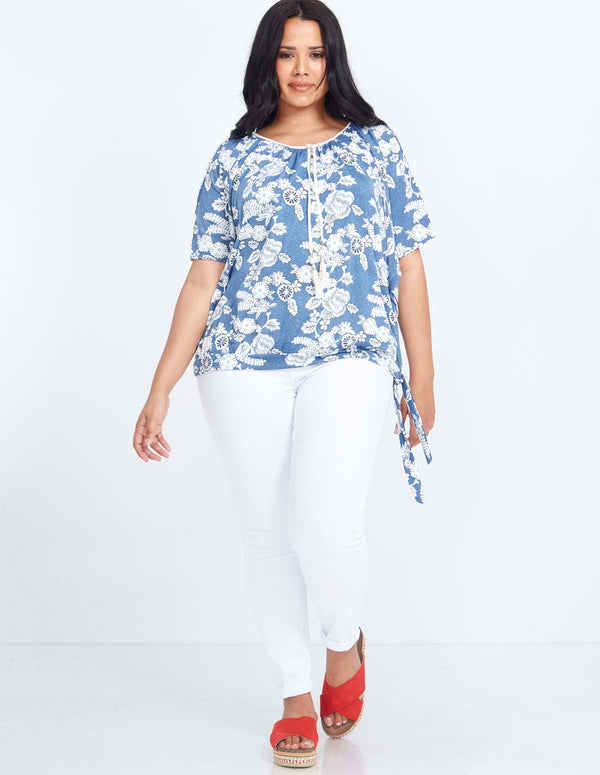 NAOMI - Curve Cold Shoulder Printed Top