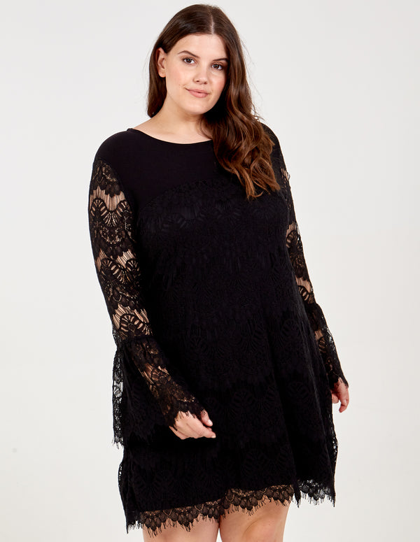 LUCIANA - Curve Bell Sleeve Lace Dress