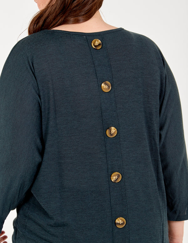 TAMMY - Curve Button Back Placket Batwing Top