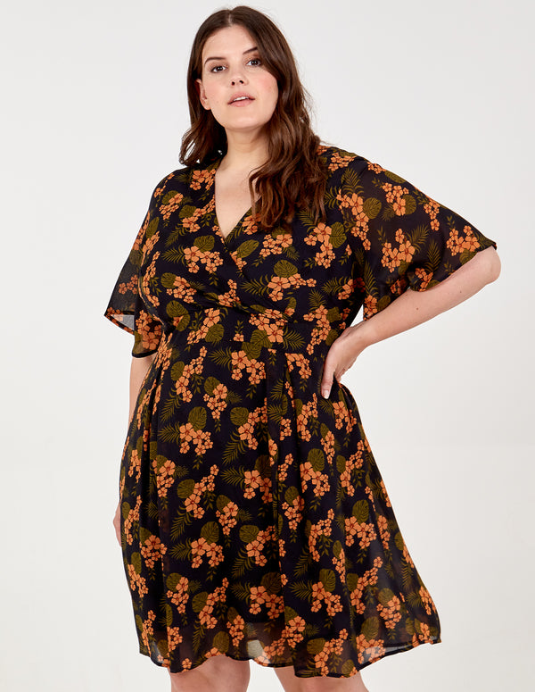 SHIRLEY - Fixed Wrap Tie Back Navy Floral Dress