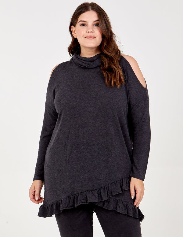 JIA - Curve Frill Hem Cold Shoulder Top