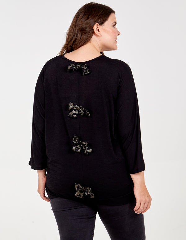 IGA - Curve Leopard Bow Detail Oversized Top