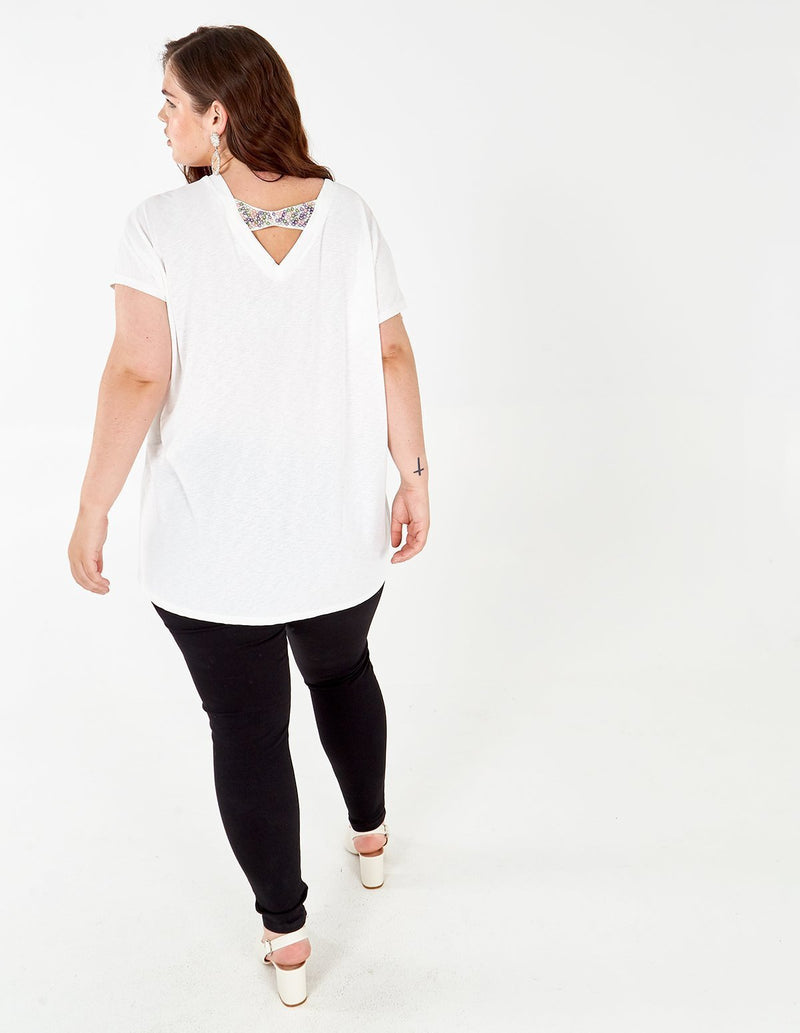 CELESTE - Curve Sequin Back Panel Top