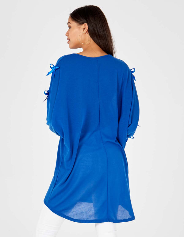 ADDIE - Tie Sleeve Tunic Royal Blue Dress