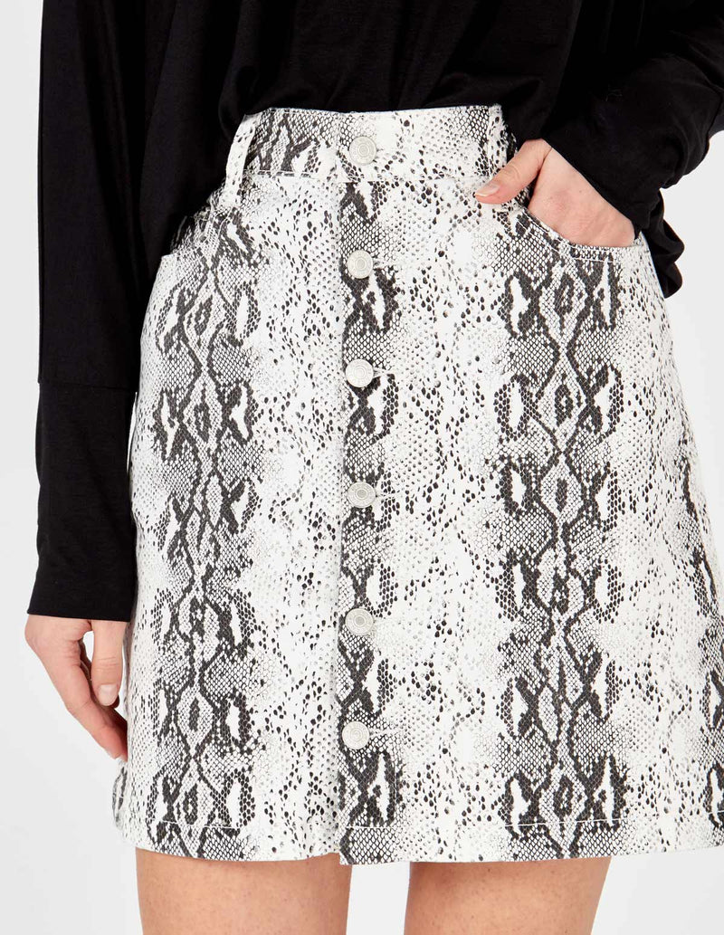 LAURA - Snake Skin Button Front Skirt