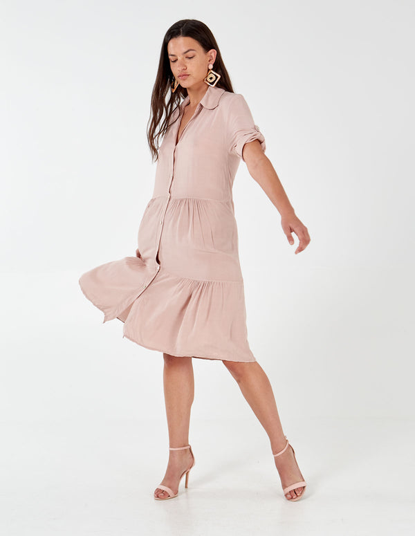 LOTTIE - Button Through Dusty Pink Tiered Dress
