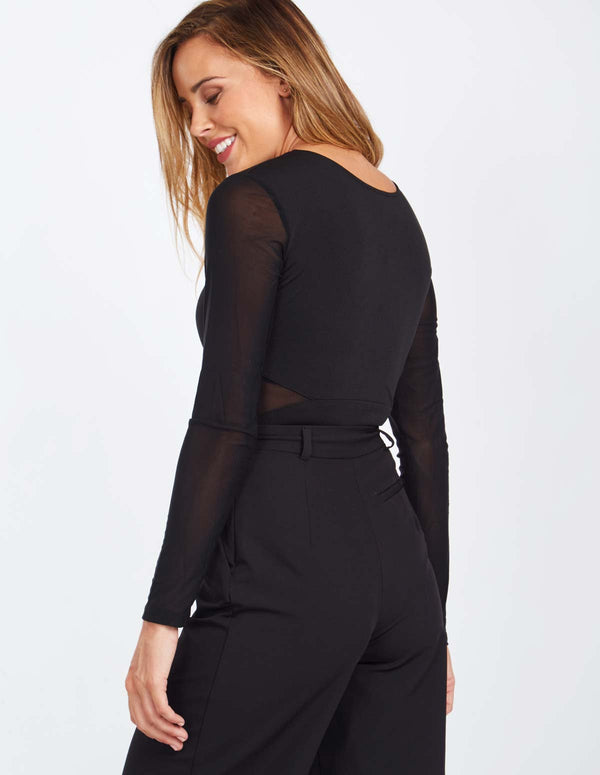 LEONA - Mesh Insert Long Sleeve Body Black