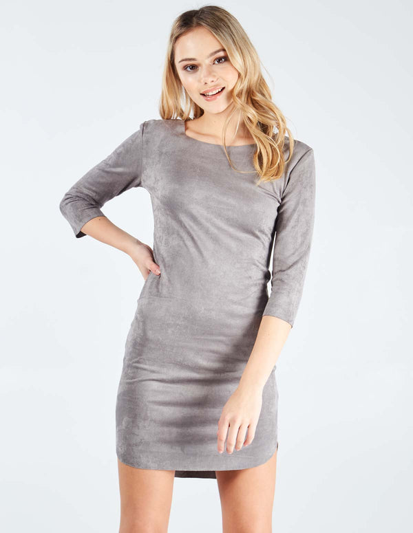 NOEMI - Suede Curver Hem Grey Dress