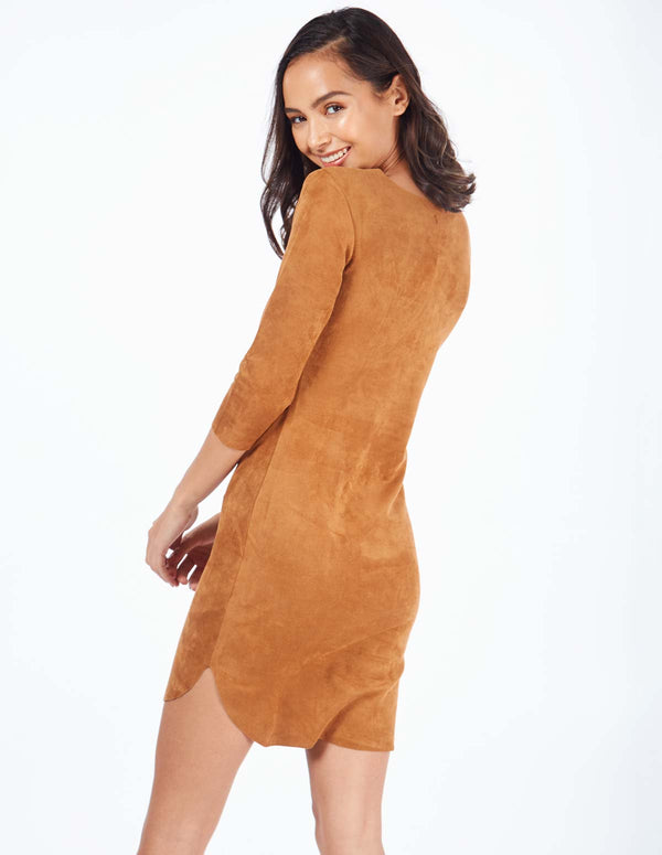 NOEMI - Suede Curver Hem Tan Dress