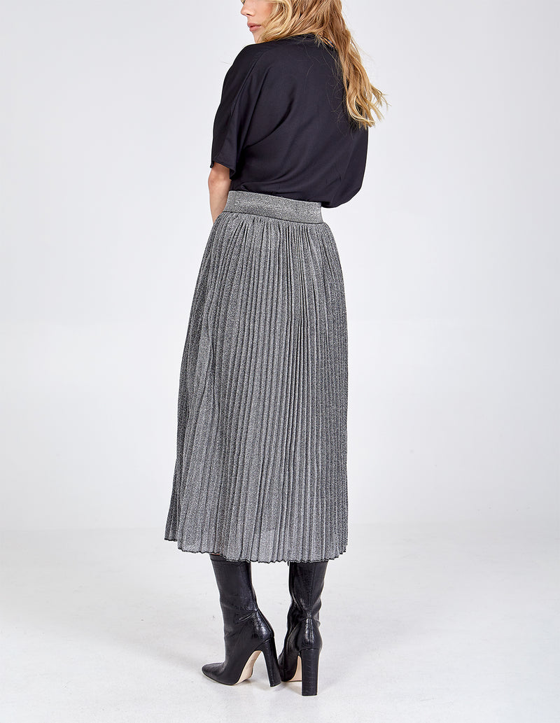 CATHERINE - Metallic Pleated Midi Skirt
