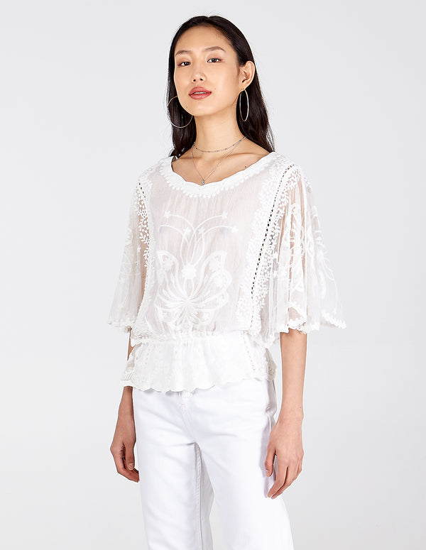 ABIGAIL - Kimono Sleeve Embroidered Top