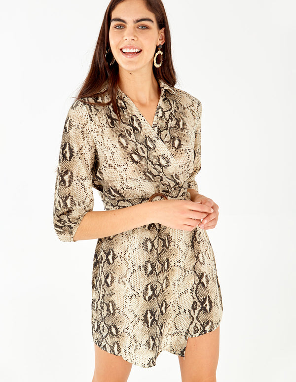 DAKOTA - Wrap Front Belted Snakeskin Print Dress