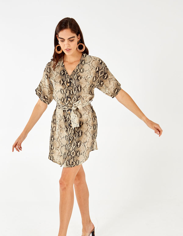 FELICITY - Buttoned Front Belted Snakeskin Print Dress