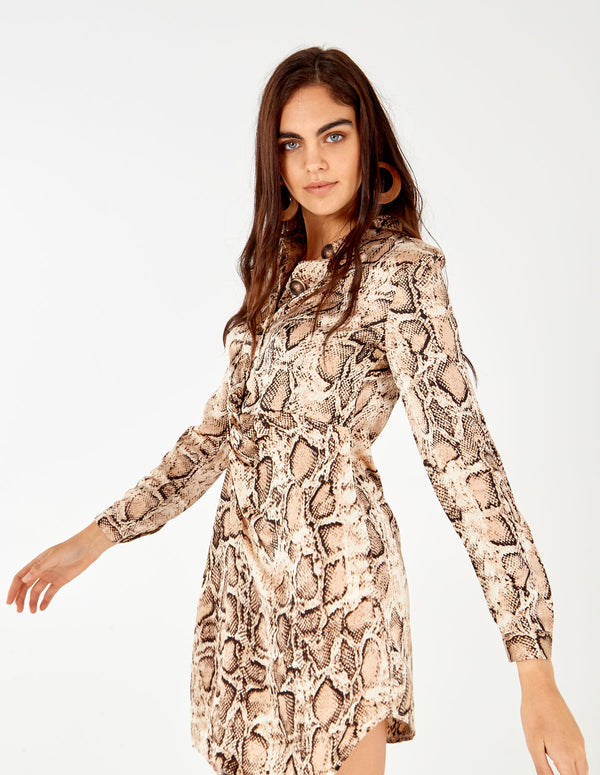 PALMIRA - Knot Front Satin Snakeskin Print Dress