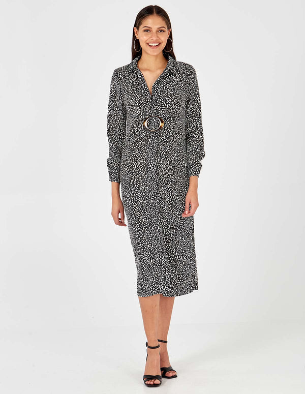 HONEY - Abstract Buckle Shirt Dress